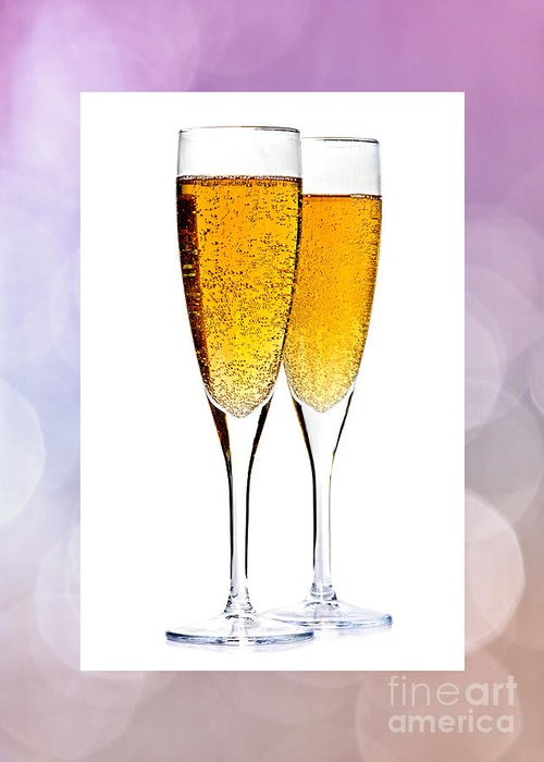 Champagne Greeting Card featuring the photograph Champagne In Glasses by Elena Elisseeva