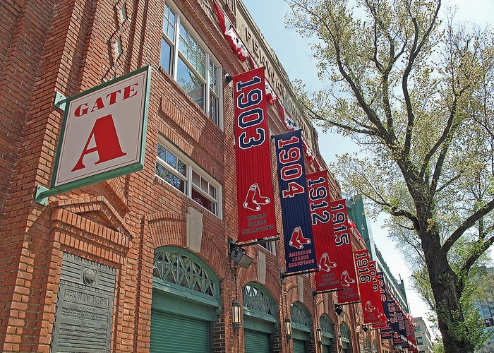 Red Sox Greeting Card featuring the photograph Championship Banners by Barbara McDevitt