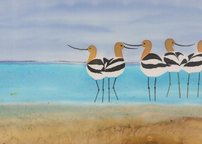 Avocets Greeting Card featuring the tapestry - textile Chance Encounter At The Beach by Carolyn Doe