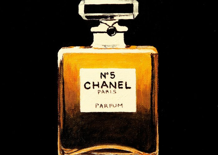 Chanel Greeting Card featuring the painting Chanel No. 5 by Alacoque Doyle