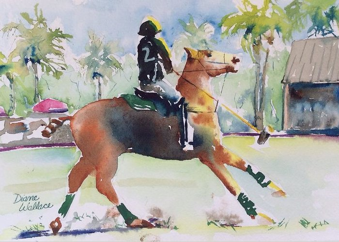 Polo Greeting Card featuring the painting Change Of Direction by Diane Wallace