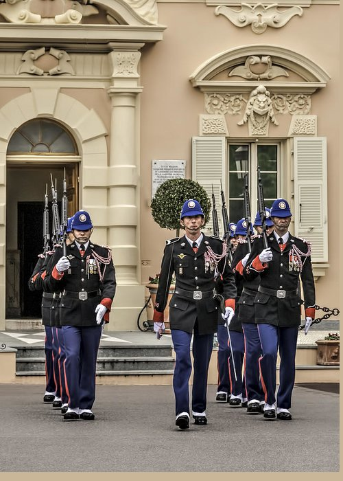 Arch Greeting Card featuring the photograph Changing Of The Guard by Maria Coulson