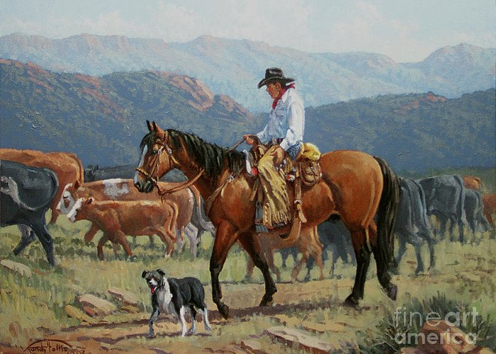Cowboy Greeting Card featuring the painting Changing Range by Randy Follis
