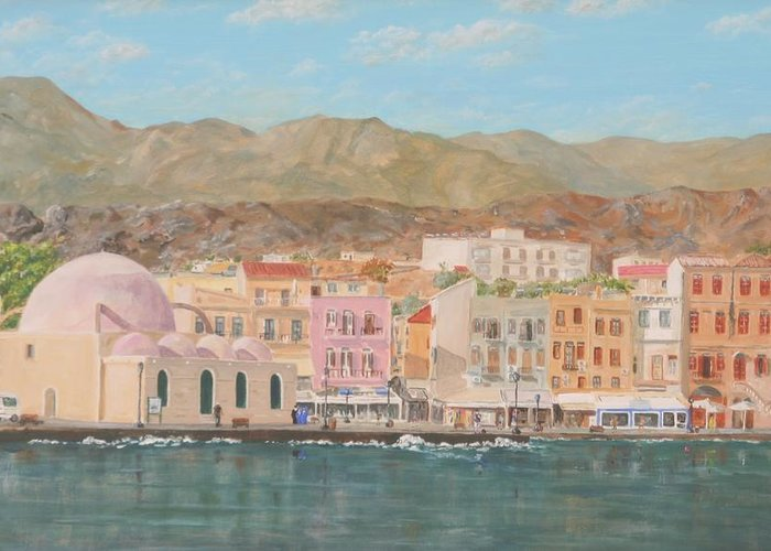 Chania Greeting Card featuring the painting Chania Harbour Early Summer Morning by David Capon