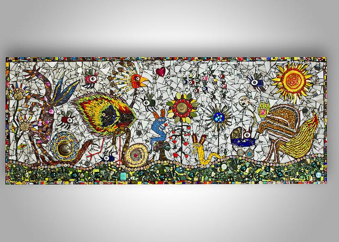 Mosaic Greeting Card featuring the glass art Chaos In The Park by Genna Wise