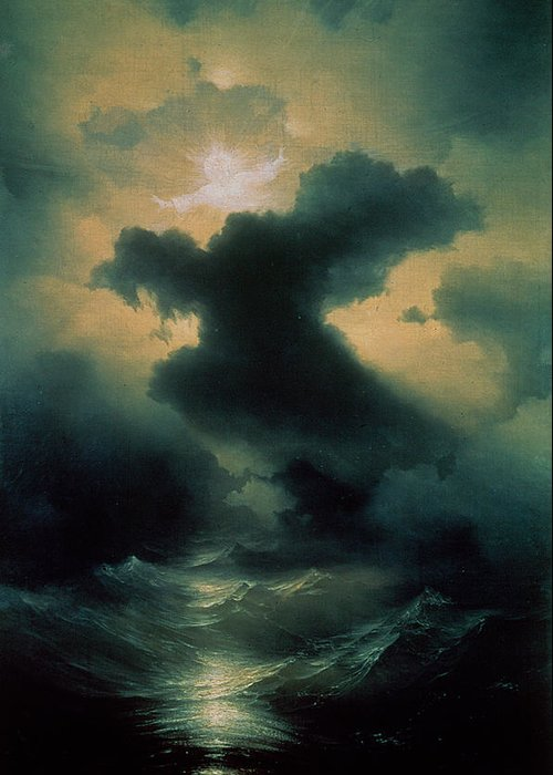 Parting; Waves; Water; Sea; Sky; Heavens; God; Genesis; Biblical; Storm; Power Greeting Card featuring the painting Chaos The Creation by Ivan Konstantinovich Aivazovsky
