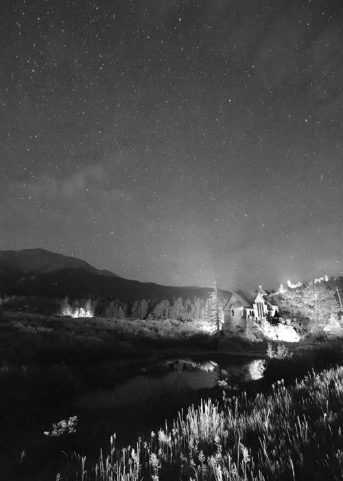 Old Churches Greeting Card featuring the photograph Chapel On The Rock Stary Night Portrait Bw by James BO Insogna