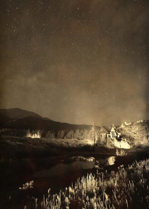 Old Churches Greeting Card featuring the photograph Chapel On The Rock Stary Night Portrait Monotone by James BO Insogna