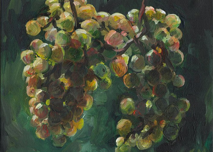 Impressionistic Painting Of Sun Shining Through A Close-up Of White Grape Clusters With A Green Background. Greeting Card featuring the painting Chardonnay by Susan Moore