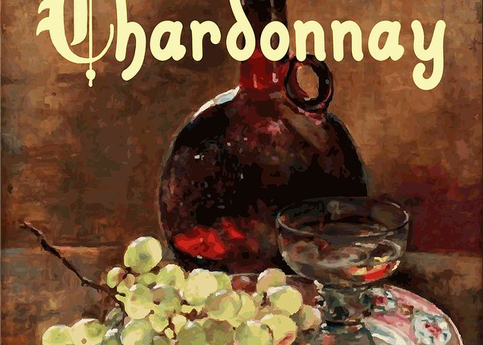 Wine Greeting Card featuring the painting Chardonnay Vintage Advertisement by