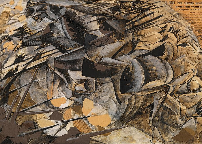 Boccioni Greeting Card featuring the painting Charge Lancers by Umberto Boccioni