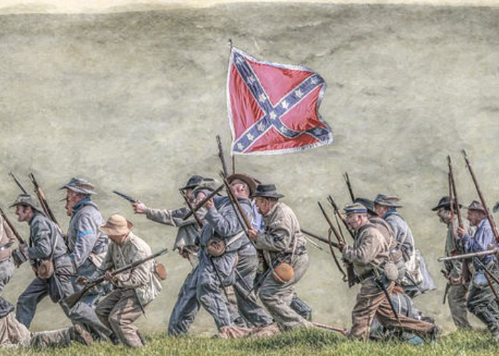 Charge Of The Virginia Regiment At Gettysburg Greeting Card featuring the digital art Charge Of The Virginia Regiment At Gettysburg by Randy Steele