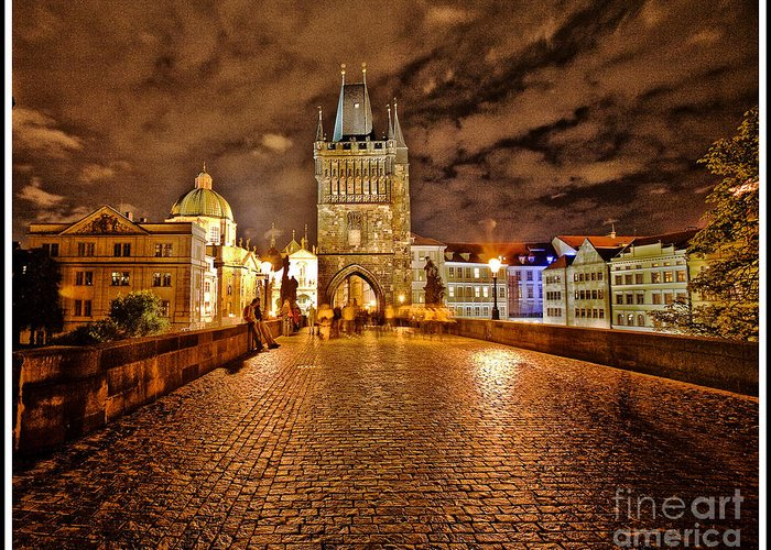Charles Bridge Greeting Card featuring the photograph Charles Bridge At Night by Madeline Ellis