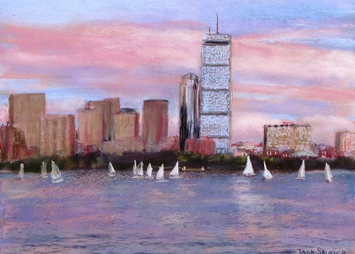 Boston Greeting Card featuring the painting Charles River Boston by Jack Skinner