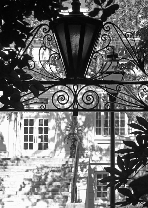 Lantern Greeting Card featuring the photograph Charleston Gateway II In Black And White by Suzanne Gaff