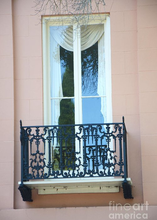 Charleston Houses Greeting Card featuring the photograph Charleston Pink White Architecture - Charleston Historical District French Quarter Window Balcony by Kathy Fornal
