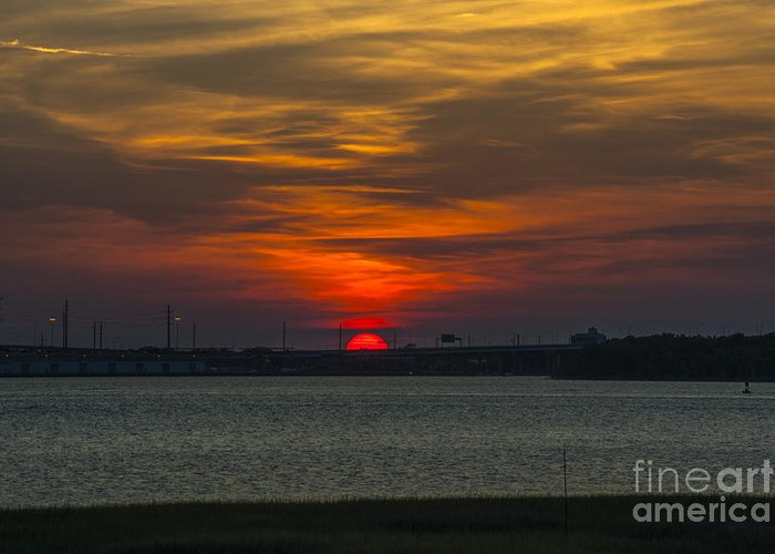 Sunset Greeting Card featuring the photograph Charleston Sc Sunset by Dale Powell
