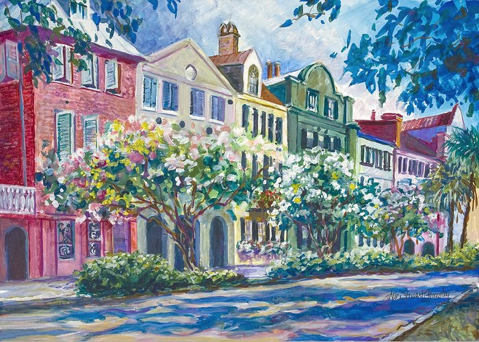 Charleston Greeting Card featuring the painting Charleston's Rainbow Row by Alice Grimsley