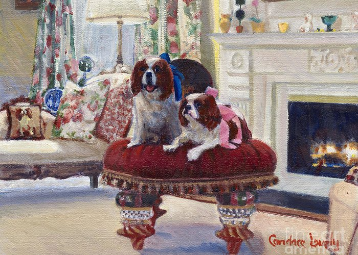 King Charles Spaniels Greeting Card featuring the painting Charlie And Lizzie by Candace Lovely