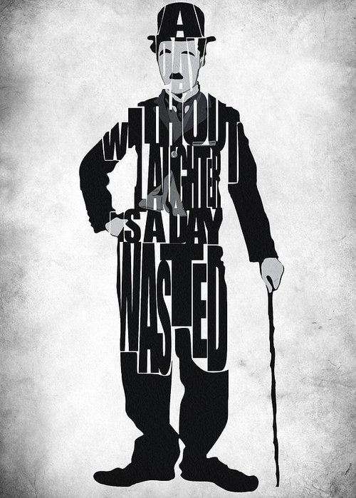Charlie Chaplin Greeting Card featuring the painting Charlie Chaplin Typography Poster by Inspirowl Design