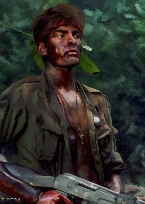 Platoon Greeting Card featuring the digital art Charlie Sheen in Platoon by Gabriel T Toro