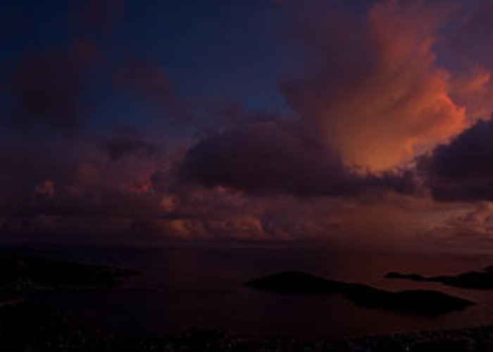 Virgin Greeting Card featuring the photograph Charlotte Amalie Dusk Panorama by Jared Shomo