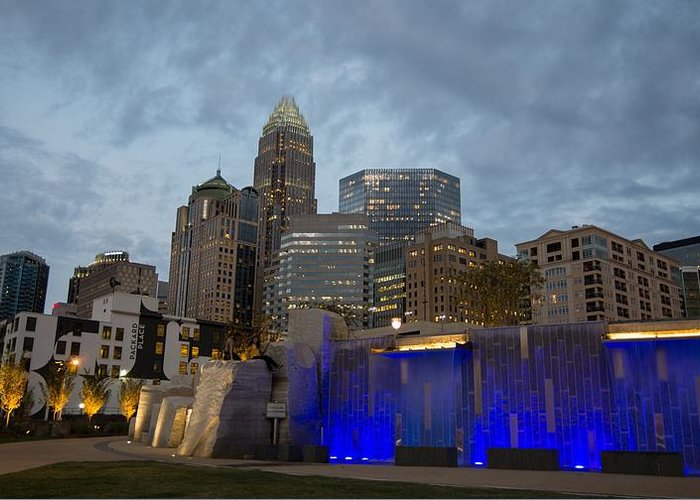 Charlotte Greeting Card featuring the photograph Charlotte City Lights by Serge Skiba