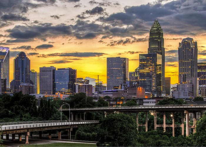 Charlotte Greeting Card featuring the photograph Charlotte Dusk by Chris Austin
