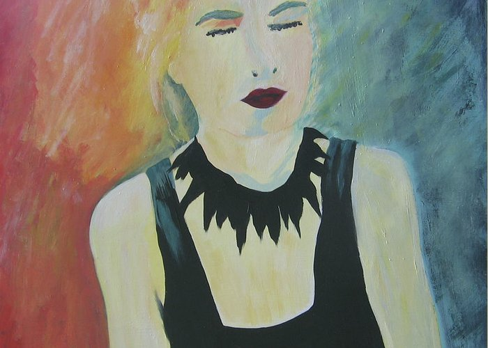 Portrait Greeting Card featuring the painting Charlotte by Ingrid Torjesen