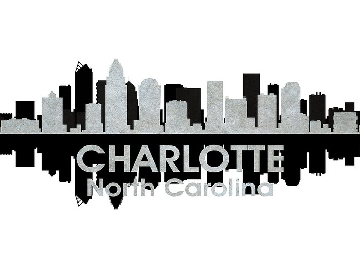 City Silhouette Greeting Card featuring the mixed media Charlotte Nc 4 by Angelina Vick