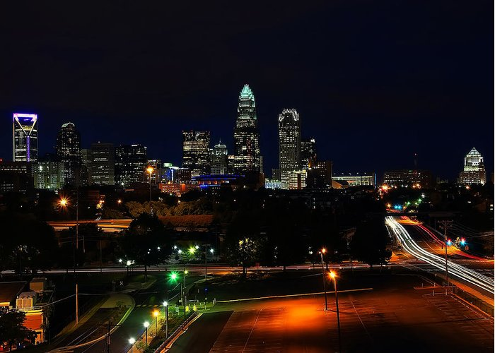 Charlotte Greeting Card featuring the digital art Charlotte Nc At Night by Chris Flees