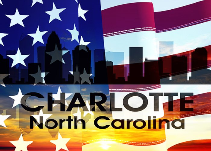 City Silhouette Greeting Card featuring the mixed media Charlotte Nc Patriotic Large Cityscape by Angelina Vick