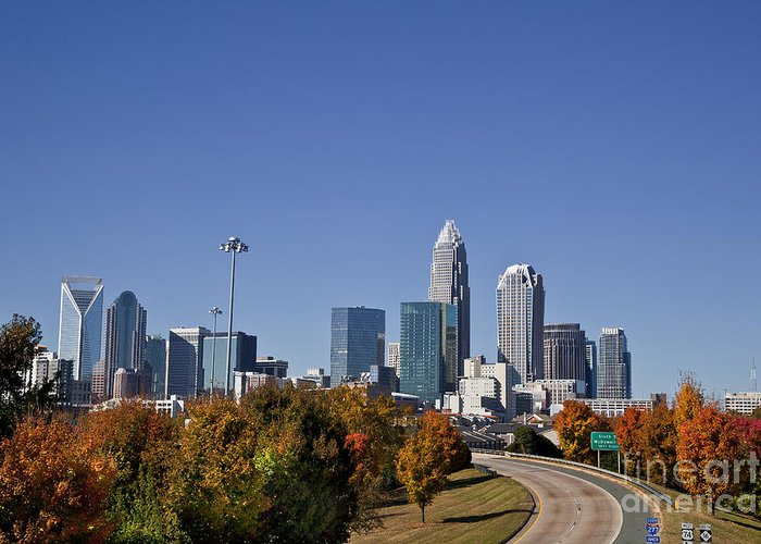 Skyline Greeting Card featuring the photograph Charlotte North Carolina by Jill Lang