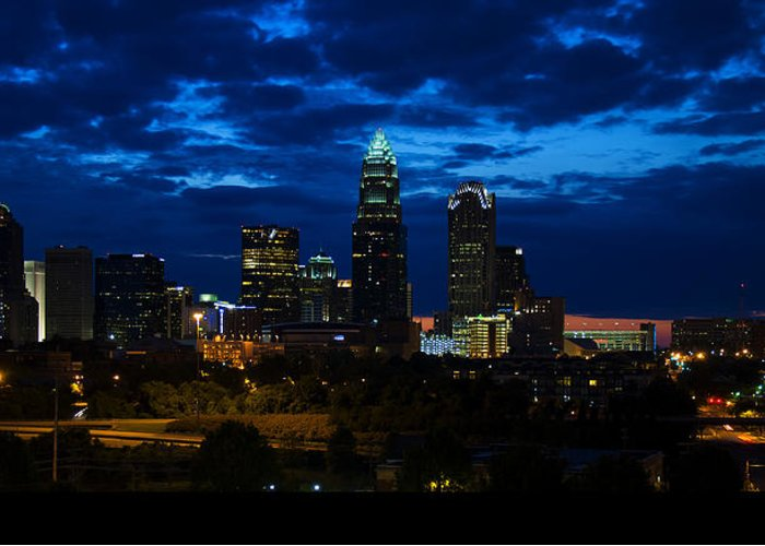 Charlotte Greeting Card featuring the digital art Charlotte North Carolina Panoramic Image by Chris Flees