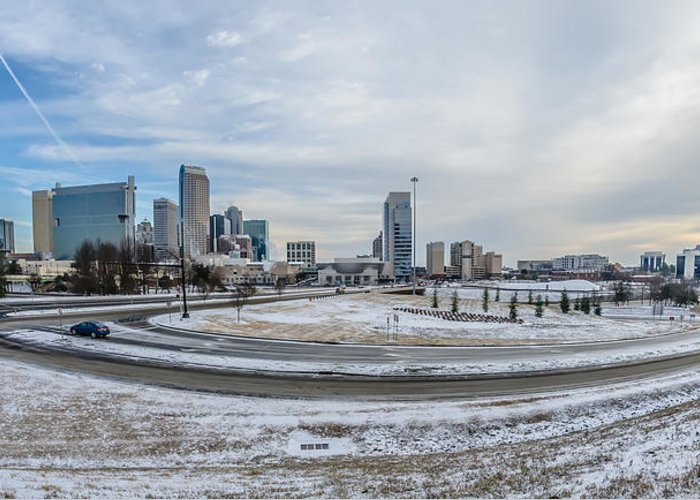 Rare Greeting Card featuring the photograph Charlotte North Carolina Skyline In Winter by Alex Grichenko