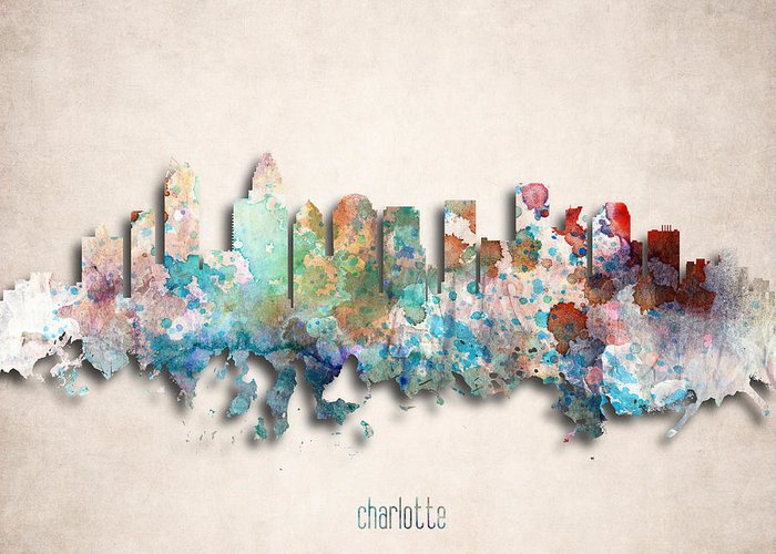Charlotte Greeting Card featuring the digital art Charlotte Painted City Skyline by World Art Prints And Designs