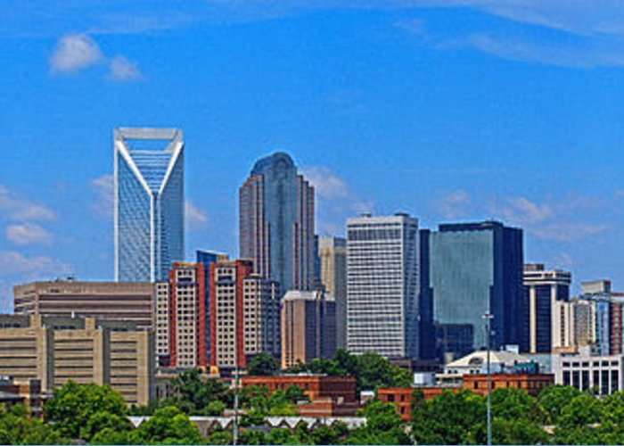 Charlotte Greeting Card featuring the photograph Charlotte Panorama by Gene Berkenbile