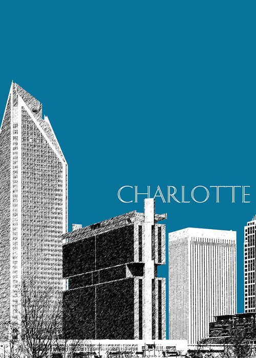 Architecture Greeting Card featuring the digital art Charlotte Skyline 1 - Steel by DB Artist