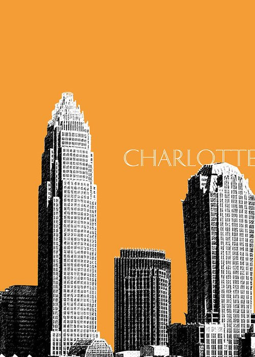 Architecture Greeting Card featuring the digital art Charlotte Skyline 2 - Orange by DB Artist