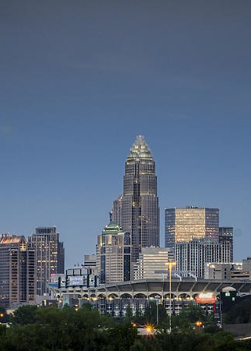 Charlotte Greeting Card featuring the photograph Charlotte Skyline - Clear Evening by Brian Young