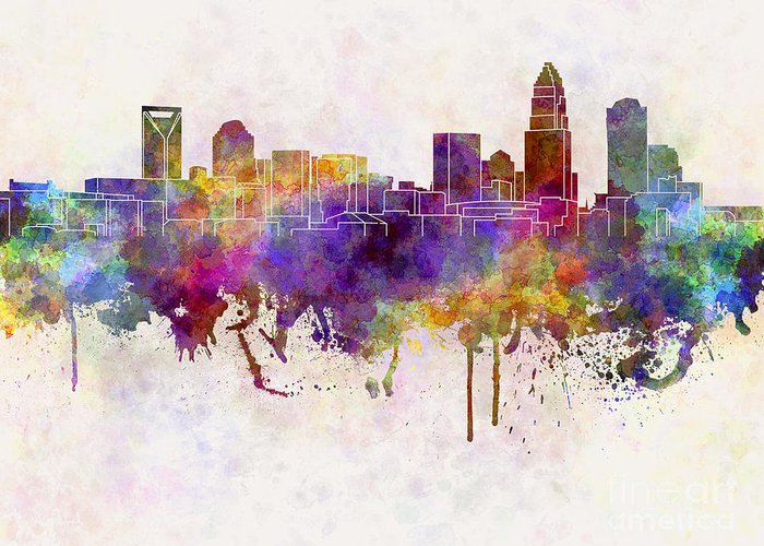 Charlotte Skyline Greeting Card featuring the painting Charlotte Skyline In Watercolor Background by Pablo Romero