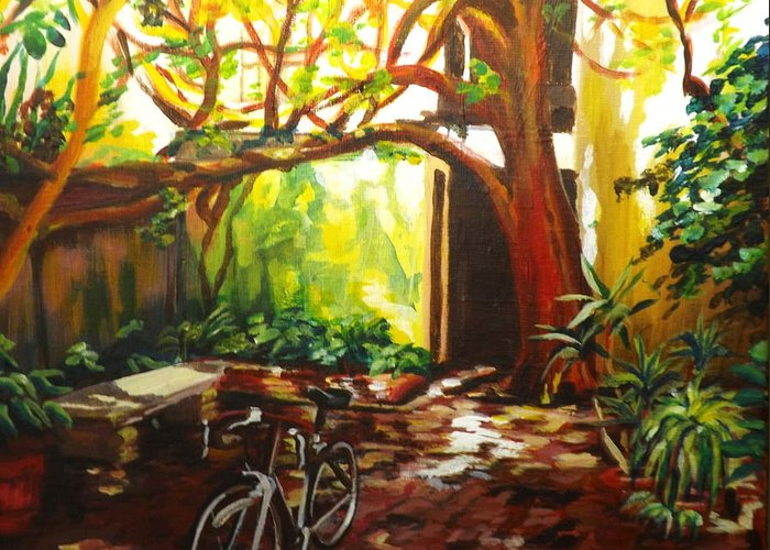 St. Augustine Greeting Card featuring the painting Charlotte Street Courtyard by Caroline Conkin