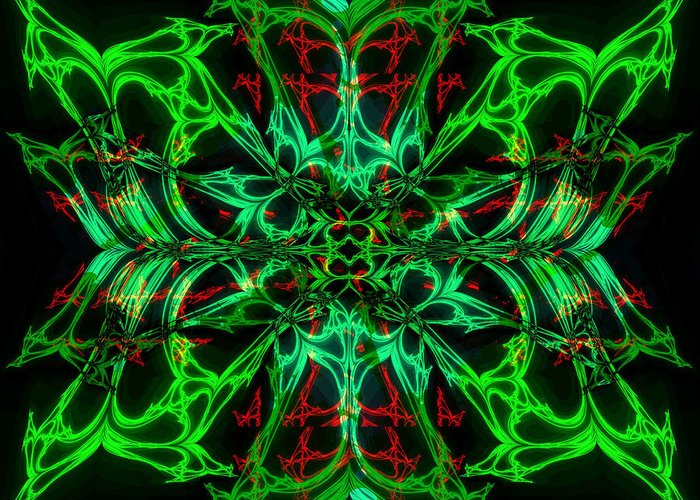 Fractal Art Greeting Card featuring the digital art Charlotte's New Freakin' Awesome Neon Web by Elizabeth McTaggart