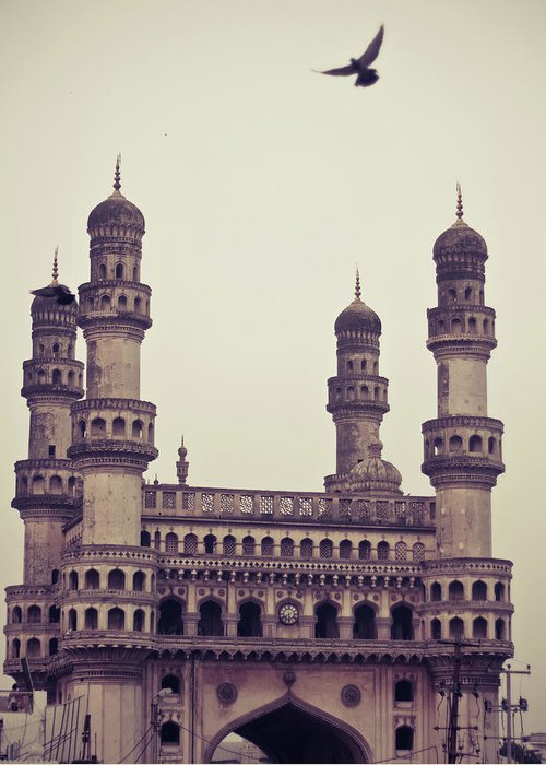 Tranquility Greeting Card featuring the photograph Charminar And The Pigeon by © Manogna Reddy