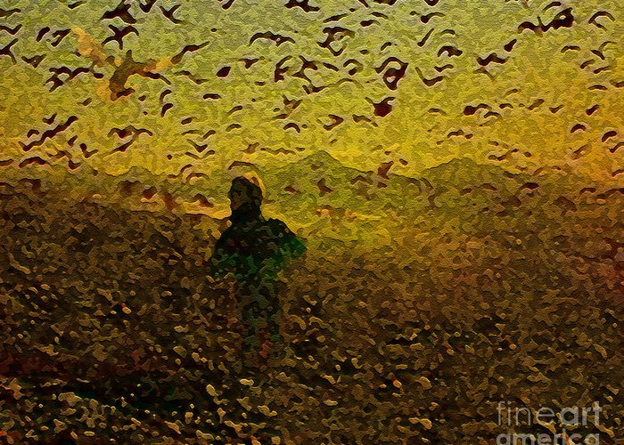 Child Greeting Card featuring the digital art Chasing Birds In The Mist by Sharaijah Dunn