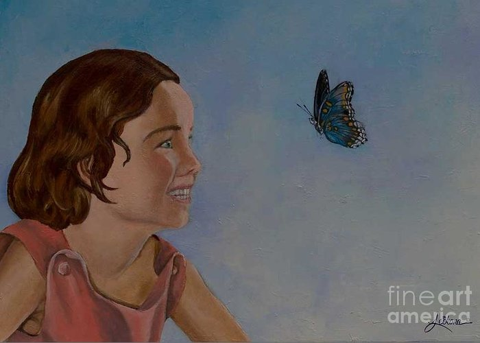 Butterfly Greeting Card featuring the painting Chasing Butterflies by Laura Leikona
