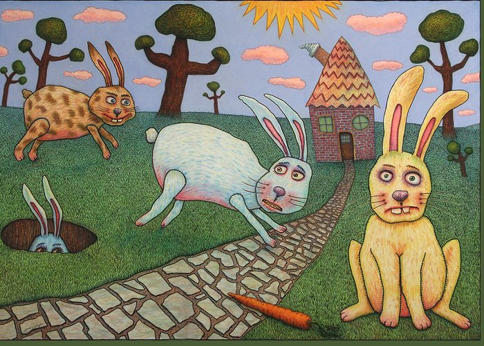 Rabbits Greeting Card featuring the painting Chasing Tail by James W Johnson