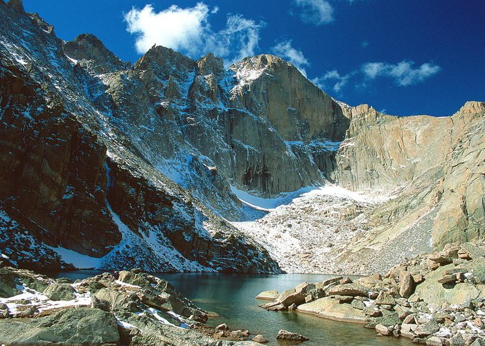 Landscape Greeting Card featuring the photograph Chasm Lake by Eric Glaser
