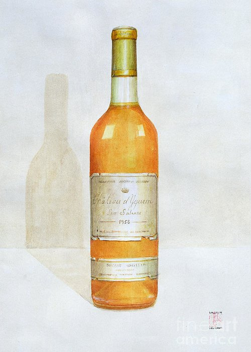 Bottle; Wine; Alcohol; Beverage; Label; Shadow; Labels Greeting Card featuring the painting Chateau D Yquem by Lincoln Seligman