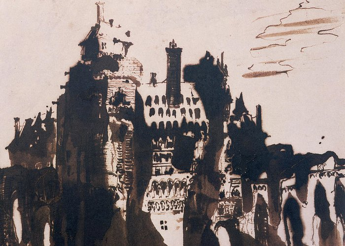 Bridge Greeting Card featuring the painting Chateau Fortified By Two Bridges by Victor Hugo